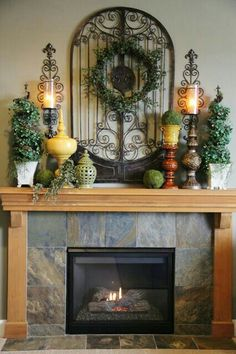 Old World Style Tuscan decor for above a table, not a fireplace Tuscan Design, Tuscan Style, Fireplace Mantel Christmas Decorations, Mantel Ideas, Fireplace Ideas, Christmas Fireplace, Fireplace Design, Over Fireplace Decor, Summer Mantle Decor