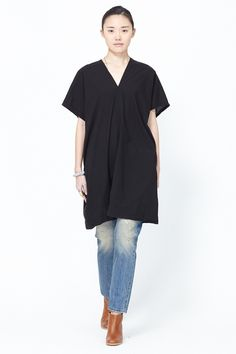 UZI Oversized V-Neck Dress (Black)
