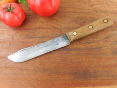 """Robeson Hammered USA - Carbon Steel Butcher Knife - Wood Handle 6"""" Blade - Vintage Kitchen"""