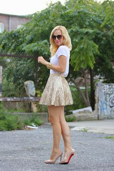 Asos Skirt + Zara Tee + Nude Louboutins = perfect for end of summer parties