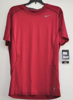 Nike Pro Combat Core Menfolks 2.0 Tee Fitted Short Sleeve Baseball Red size L #Nike #ShirtsTops
