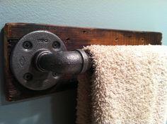 Industrial Towel Bar/Toilet Paper Holder/Bath Hook. TylerKingstonWoodCo via Etsy