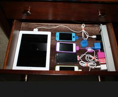Tips & Tricks for Organizing Your House - In-drawer charging, can be used for anywhere in the house
