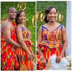 Beautiful Kente by ajoaakwaboah African Fashion Traditional, African Traditional Wedding, African Men Fashion, Africa Fashion, African Fashion Dresses, Traditional Outfits, Traditional Weddings, African Beauty, African Attire