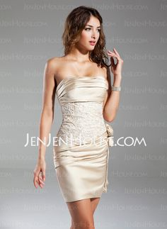 Cocktail Dresses - $115.99 - Sheath Strapless Short/Mini Satin Cocktail Dresses With Embroidered Ruffle (016015329) http://jenjenhouse.com/Sheath-Strapless-Short-Mini-Satin-Cocktail-Dresses-With-Embroidered-Ruffle-016015329-g15329