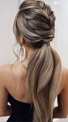 Easy Hairstyles For Long Hair, Bride Hairstyles, Hair Down Hairstyles, Hair Updos For Medium Hair, Wedding Ponytail Hairstyles, Thin Hair Updo, Medium Length Hair Men, Fishtail Braid Hairstyles, Wedding Hair And Makeup
