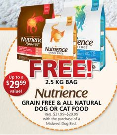 FREE! 2.5 KG Bag Nutrience Grain Free & All Natural Dog or Cat Food with the Purchase of a Midwest Dog Bed Cat Food, Dog Bed, Grain Free, Grains, Natural, Cats, Cat Feeding, Gatos, Kitty