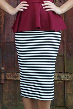 Peplum shirt pencil skirt