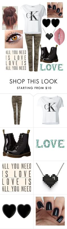 """CAMO & BLACK"" by rngriffis02 ❤ liked on Polyvore featuring True Religion, Calvin Klein Jeans, Dr. Martens, Sugarboo Designs, Dollydagger and Lime Crime"