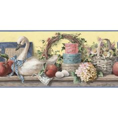 Waverly 10 1 4 baskets and sunflowers prepasted wallpaper border decorating pinterest - Sherwin williams wallpaper borders ...