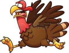 turkey: Scared cartoon turkey. Vector clip art illustration with simple gradients. Elements on separate layers. Illustration