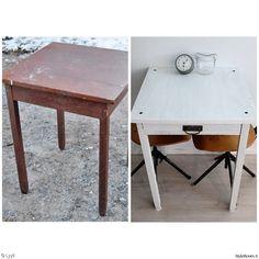 pöytä,vanha pöytä,keittiö,Tee itse - DIY,lundagård,tuunaus,tuunausprojekti,pieni pöytä,pikkupöytä,vanha,diy pöytä Corner Desk, Koti, Balconies, Table, Furniture, Home Decor, Corner Table, Verandas, Decoration Home
