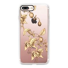Drawing of flower- gold - iPhone 7 Case, iPhone 7 Plus Case, iPhone 7... (125 BRL) ❤ liked on Polyvore featuring accessories, tech accessories, iphone case, slim iphone case, gold iphone case, iphone cases, apple iphone case and flower iphone case