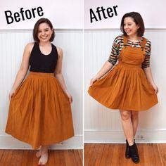 Skirt to Pinafore Refashion – trish stitched clothes ref. - Skirt to Pinafore Refashion – trish stitched clothes refashion Source by carolinruebenac - Diy Clothes Rack, Diy Clothes Refashion, Sewing Clothes, Refashioned Clothes, Refashion Dress, Thrift Store Refashion, Sewing Coat, Sewing Shirts, Sewing Diy