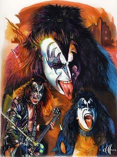 Gene Simmons - Art done by Chris Hoffman Paul Stanley, Kiss World, Gene Simmons Kiss, Kiss Rock Bands, Kiss Members, El Rock And Roll, Rock Y Metal, Kiss Me Love, Vintage Kiss