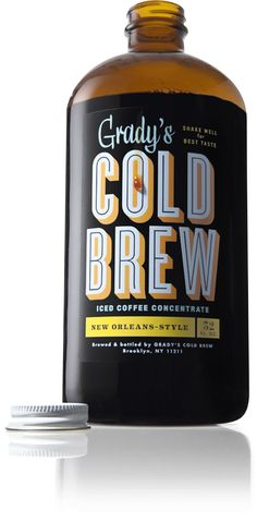 Grady's Cold Brew is a New Orleans–style coffee concentrate that's brewed and bottled by hand in Brooklyn, New York. Each batch is made by steeping a special blend of freshly roasted coffee and. Best Iced Coffee, Cold Brew Iced Coffee, Iced Tea, Coffee Branding, Coffee Packaging, Coffee Label, Coffee Typography, Bold Typography, Vintage Typography