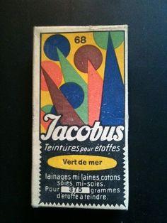 Antique box of Jacobus-teinture-pour Etoffes: ClothingPaint: Vert de mer 68...