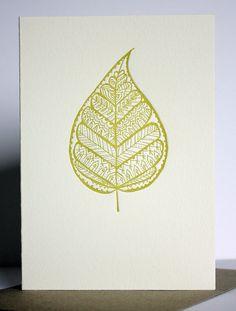 Letterpress Buddha Leaf gift card, hand drawn details