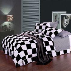 3 Or 4pcs Polyester Fiber Black White Plaid Reactive Print Bedding Sets