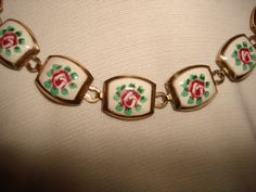 Vintage 1950's Necklace  ENAMELED PINK ROSE by PastPossessionsOnly