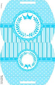 Light Blue Crown in Stripes and Polka Dots  Free Printable Boxes for a Quinceanera Party. Baptism Decorations, Quinceanera Decorations, Quinceanera Party, Birthday Party Decorations, Printable Box, Free Printables, Captain America Party, Kids Sandbox, Dots Free