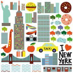 世界の5都市の名所&名物をキュートなピクトグラムにしてみました in New york