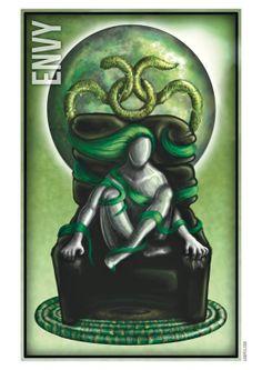 Seven Deadly Sins Envy. Digital Art A3 Poster Print by PaintedPea, $15.00