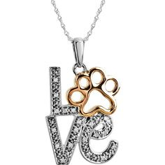 """ASPCA Jewelry - Sterling Silver Tender Voices® .05 CTTW Diamond LOVE Animal Paw Print 18"""" Necklace"""
