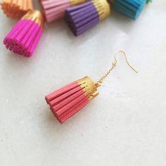 Gold painted faux suede tassel earrings (12 colors)