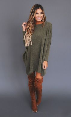 Olive Over-Sized Sweater - Dottie Couture Boutique