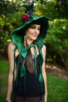 Felt Fairy Leaf And Vine Pixie Pointed Hooded Flower Hat Bonnet OOAK THIS HAT is the BOMB!!