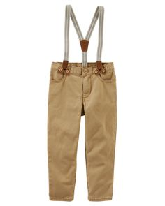 Featuring removable striped suspenders, these durable, peached twill pants add a hint of old-school style to his outfits. Wear them with chambray for a classic look.