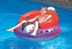 Details about Swimline 9078 Inflatable UFO Lounge Chair Swimming Pool Float with Squirt Gun - All For Garden Pool Floats For Kids, Cool Pool Floats, Pool Toys For Kids, Kids Toys, Inflatable Pool Toys, Inflatable Float, Giant Inflatable, Tips And Tricks, Pool Games