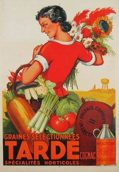 Tarde Insectecide authentic vintage poster by H. Le Monnier from 1928 France. Shows a woman holding flowers and vegetables in the basket. Advertising a fertilizer.