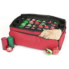 TreeKeeper Santa's Bags 3 Tray Ornament Storage with Side and Front Pockets, Red Christmas Tree Storage Box, Ornament Storage Box, Holiday Storage, Storage Containers, Bag Storage, Extra Storage, Red Ornaments, Christmas Ornaments, Christmas Trees