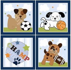 Set of 4 Bow Wow Puppy Sports/Buddies/Pals by PersonalizedbyDiane