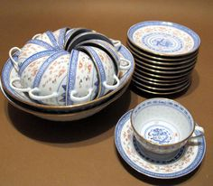 Chinese Rice Grain Porcelain Dragon -  2 Serving Bowls + 11 Cups & Saucers !!