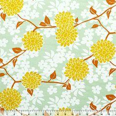 Mustard Yellow Mum Floral Cotton Interlock Knit Fabric