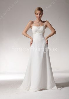 fancyflyingfox.com Offers High Quality Delicate Spaghetti Straps A-line Full Length Casual Beach Wedding Dresses With Brush Train ,Priced At Only US$189.00 (Free Shipping)