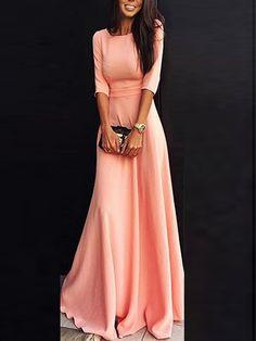 Elbow Sleeve Maxi Pink Dress
