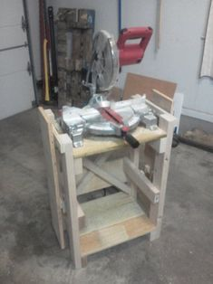 Miter Saw Stand - Instructables Miter Saw Stand Plans, Miter Saw Bench, Mitre Saw Stand, Power Tools, Woodworking Shop, Benches, Design, Workshop, Table