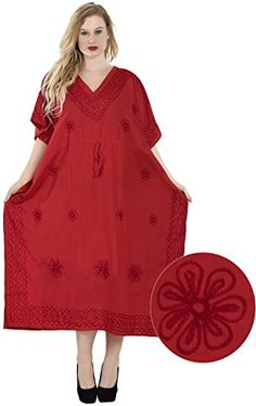 3dc75e0796 Women's Embroidered Swimwear Beach Dress Casual Caftan Red Plain US: 14 -  30W at Amazon Women's Clothing store: