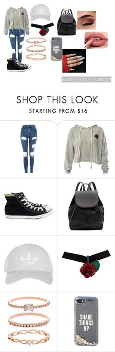 """""""Grey"""" by aesthetic-fashion ❤ liked on Polyvore featuring Topshop, Sans Souci, Converse, Witchery, Accessorize and Kate Spade"""