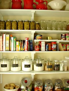 Cobblestone Farms: Label Making. Pantry Organization, Organized Pantry, Pantry Ideas, Organizing Ideas, Kitchen Ideas, Mason Jar Storage, Mason Jars, Storage Rack, Larder Storage