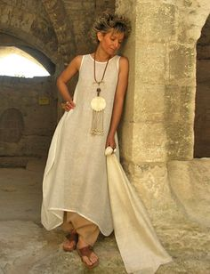 Dress/tunic in veil of linen -:- AMALTHEE -:- n° 3151