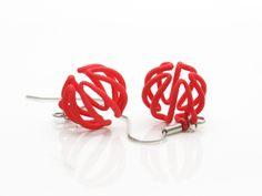 3D-Druck Ohrhänger endlos rot von dieohrfabrik auf DaWanda.com