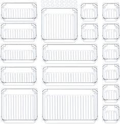 Amazon.com: Giom 17 Pack Drawer Organizer, Makeup Organizers for Bathroom, Clear Acrylic Organization Divider, Small in Drawer Organizers for Bedroom Office Home: Home & Kitchen Acrylic Drawer Organizer, Wooden Desk Organizer, Bathroom Organization, Makeup Organization, Storage Organization, Office Makeup, Affordable Storage, Plastic Drawers, Drawer Organisers