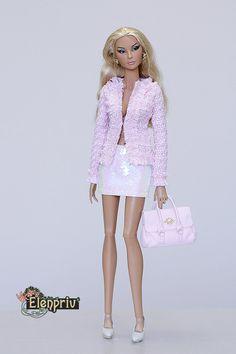"elenpriv pale pink leather bag with zipper for Fashion royalty FR:16 Tulabelle Tonner BJD Poppy Parker 16"" Sybarite  Numina Kingdom dolls"