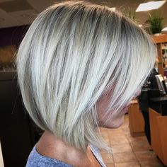 Ash Blonde Razored Bob with Bangs