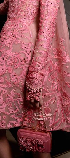 Elie Saab FW 2014-15 Couture - Amazing Pink Lace Dress and Embellished Clutch / Bracelet